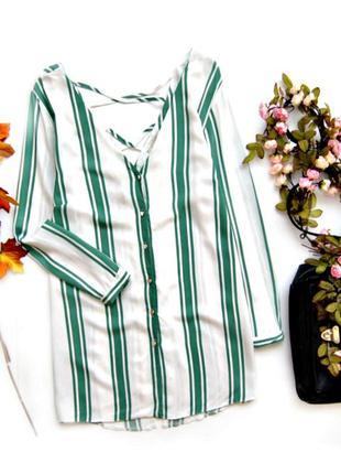 Полосата блуза со шнуровкой