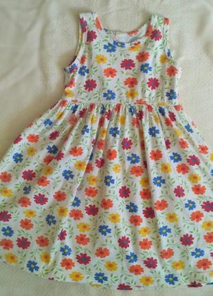 Платье из натурального трикотажа в яркий разноцветный цветочек