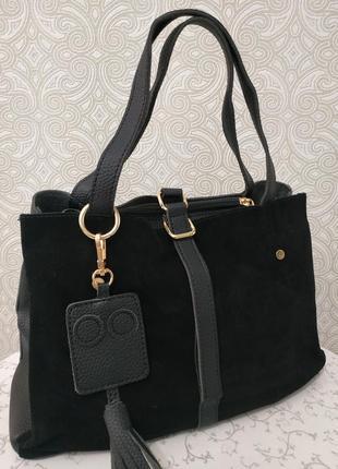 Замшевая черная сумка недорого, натуральная замша осень 2018 зима 2019 г, распродажа