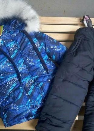 Зимняя куртка на синтепоне и овчина рост 110
