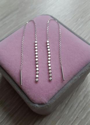 Серьги цепочки, протяжки серебряные