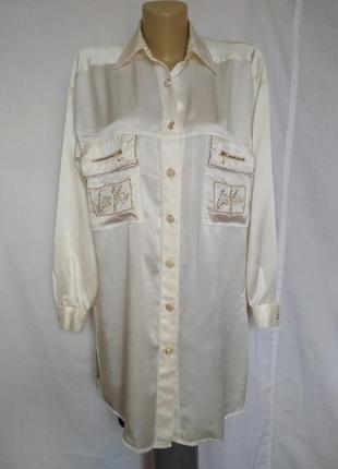 Оригинальная крутая винтажная рубашка,блузка,100%шелк,стразы,вышивка