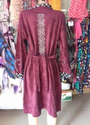 Женский халат на молнии велюр турция цвет бордовый, сливовый