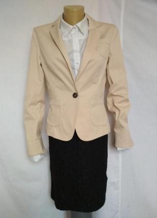 Стильный пиджак,жакет,беж,на пуговицах,карманы,качество marc cain