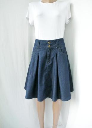 Стильная трендовая, модная джинсовая юбка pepperberry с карманами. размер 10, m.