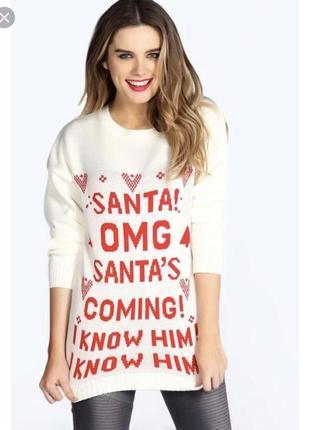 Новогодний свитер boohoo s-m