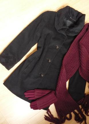 Ультрамодное демисезонное пальто черного цвета / шерсть и кашемир / wool and cashmere