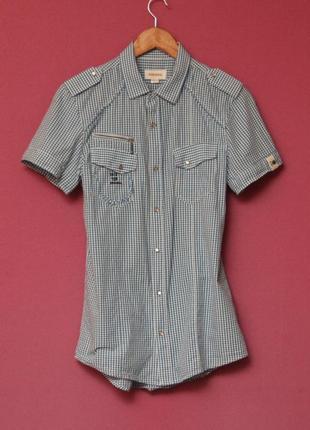 Diesel рр м slim fit дизайнерская приталеная рубашка милитари-крой