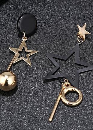 Серьги пятиконечная звезда с металлической кисточкой.
