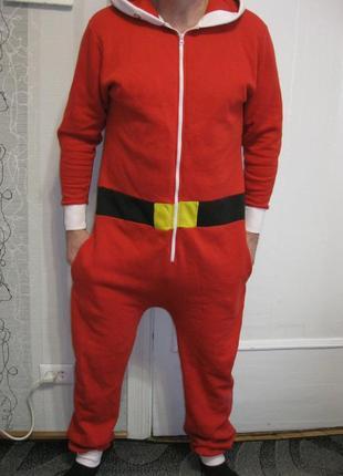 Дед мороз санта клаус кигуруми костюм пижама л 48-50-52 рост 180-190