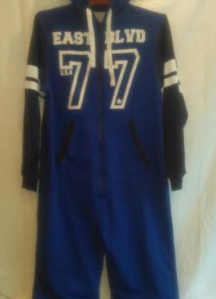 Очень  тёплая  очень  классная пижама ярко синего цвета с капюшоном(пакистан)