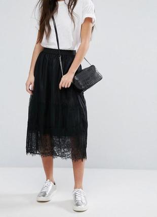 Нежная сетчатка юбка с кружевом миди, тюлевая, чёрная классическая фатиновая, пачка