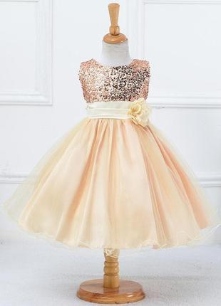 Размер 100-160 детское нарядное пышное платье для девочки с пайетками алиса