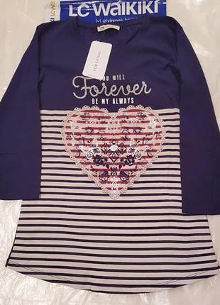 Синий женский реглан lc waikiki / лс вайкики с сердцем на груди и надписью forever2