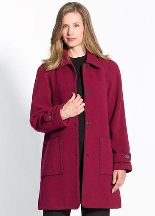 Бордовое пальто charmance designed in france болгария virgin wool шерсть кашемир