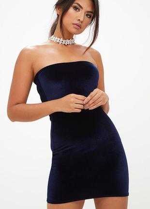 Распродажа бархатное благородное платье prettylittlething  р.m-l
