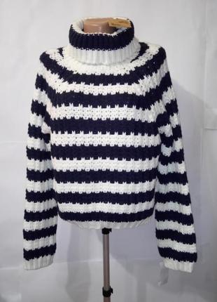 Модный вязаный свитер в полоску под горло хамут uk 10-12 / 38-40 / s