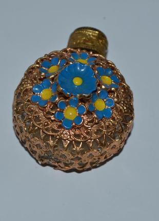 Интересный подвес флакон стекло металл позолота цветы эмаль винтаж