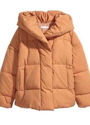 Горчичная курточка пуффер оверсайз h&m