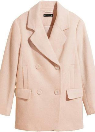 Бежевое красивое нежное пальто h&m50%wool