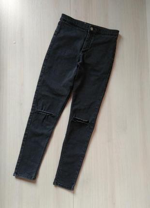 Крутые джинсы скинни высока посадка завышена талия рваные колени topshop