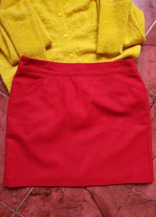 Яркая шерстяная юбка шерсть карманы montego испания
