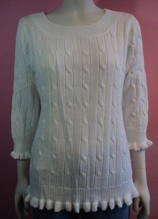 Джемпер косами рюшами воланами удлиненный свитер кофта туника белый теплый зимний вязаный