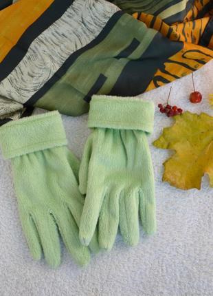 Перчатки мелкая травка мягкие цвета зеленое яблоко + шарф в подарок