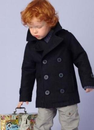 Двубортное пальто шерстяное в стиле милитари