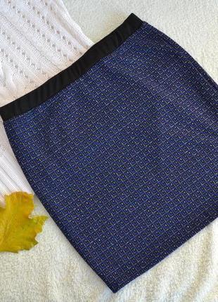 Мини-юбка синего цвета с люрексом от amisu тёплая