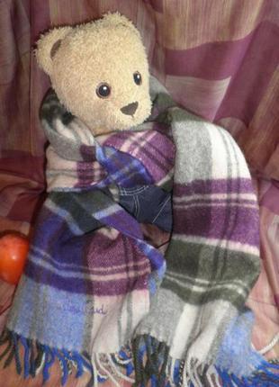 Мягкий нежный теплый и модный шарф натуральная шерсть ягненка pierre cardin франция