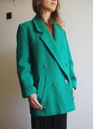Шерстяное бирюзовое пальто oversize/ пальто шерстяне