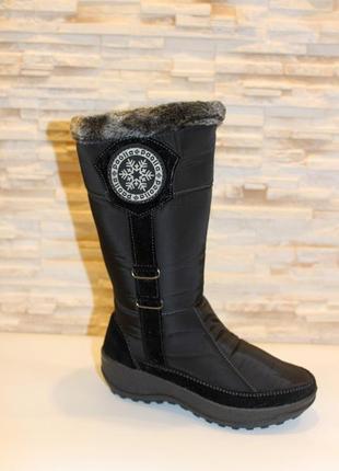 Сапоги дутики женские черные зимние снежинка код с375