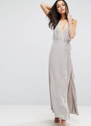 Платье с запахом и кружевными вставками asos