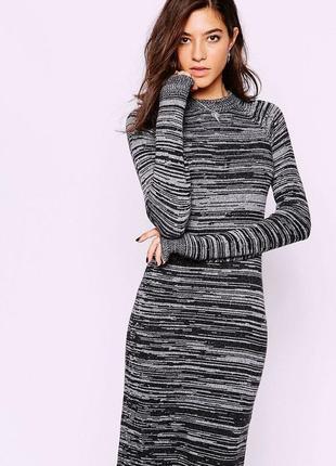 Вязанное теплое платье меланж