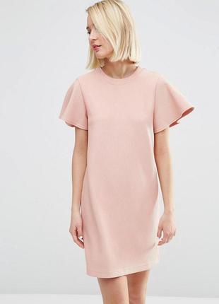 Новорічний розпродаж ! цельнокройное платье с оборками на рукавах asos