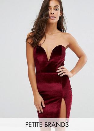 Новорічний розпродаж ! бархатное платье мини с разрезом boohoo petite
