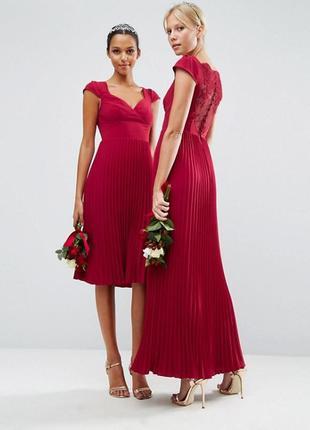 Платье с кружевом и отделкой плиссе asos wedding