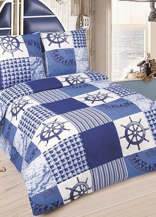 Мореход - постельное белье для мальчиков морская тематика (поплин, 100% хлопок)1 фото