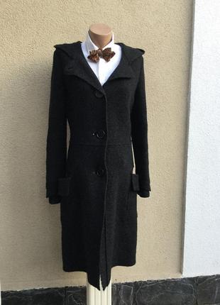 Шерсть пальто,капюшон,накладные карманы(без подкладки),кардиган,италия,100 % шерсть