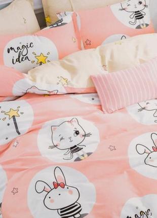 Подростковое полуторное постельное белье viluta сатин 221 зайки и котики розовый