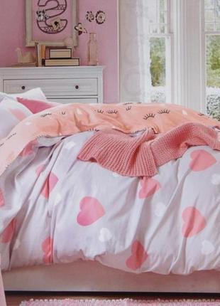 Подростковое полуторное постельное белье viluta сатин 267 сердечки