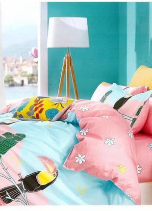 Подростковое полуторное постельное белье viluta сатин 215 попугаи