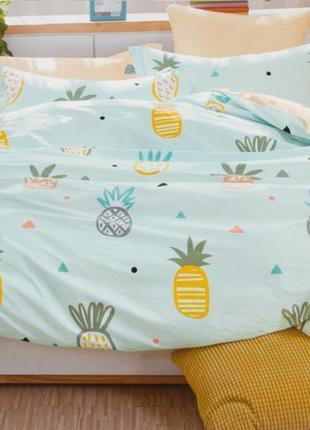 Подростковое полуторное постельное белье viluta сатин 214 ананасы