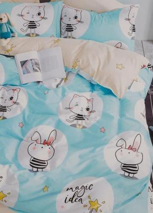 Детское постельное белье viluta сатин 222 зайки и котики голубой