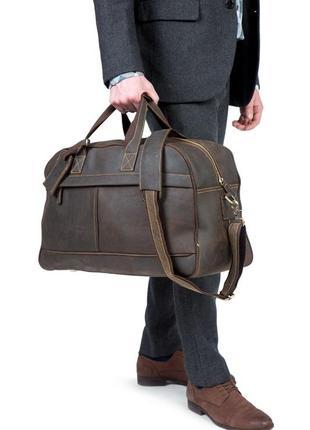 Стильная кожаная винтажная дорожная сумка для спортзала коричневая ручная работа