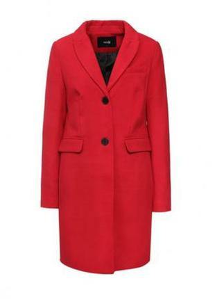 Пальто oodji красно-оранжевого цвета