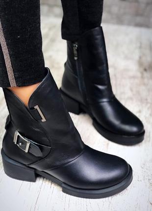 Рр 36-40 зима натуральная кожа люксовые эксклюзивные черные ботинки с ремешком