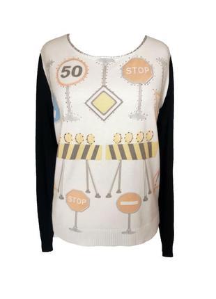 Оригинальный комбинированный свитер с добавлением шерсти и кашемира