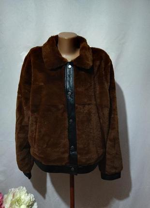 Трендовая куртка шубка из эко меха - мутон. большой размер